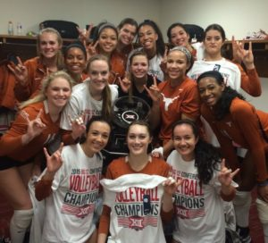 Texas Volleyball team in locker room after winning 2015 Big 12 Championship.