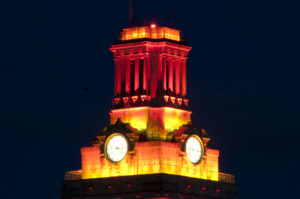Tower Turns Orange for Class Ring Ceremony