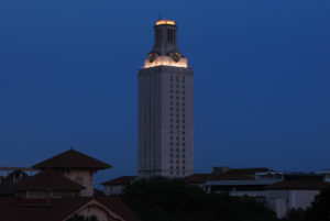 The UT Austin Tower will be in the darkened configuration the night of Thursday, April 7, 2016 in honor of deceased student Haruka Weiser.