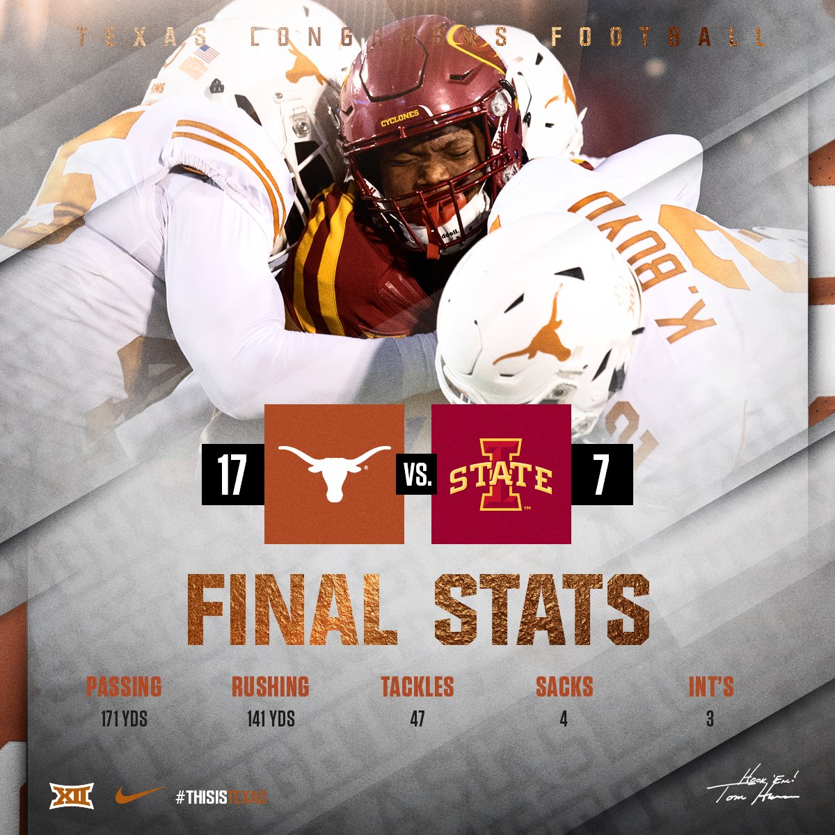 Light The Tower: Texas Football Wins, 17-7