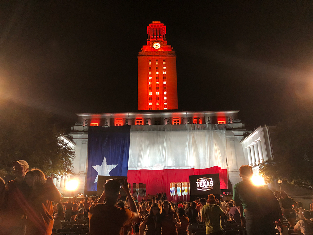 """The UT Tower shines with """"23"""" on its sides to welcome the Class of 2023 to the Forty Acres"""