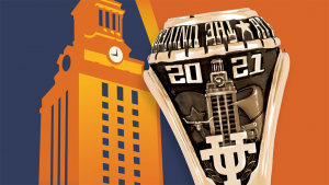 Illustration of the UT Tower with picture of a class of 2021 ring